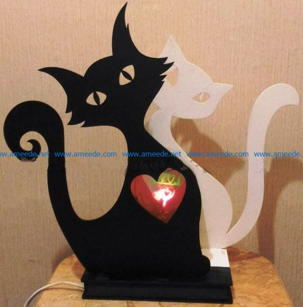 Cat lights file cdr and dxf free vector download for Laser cut