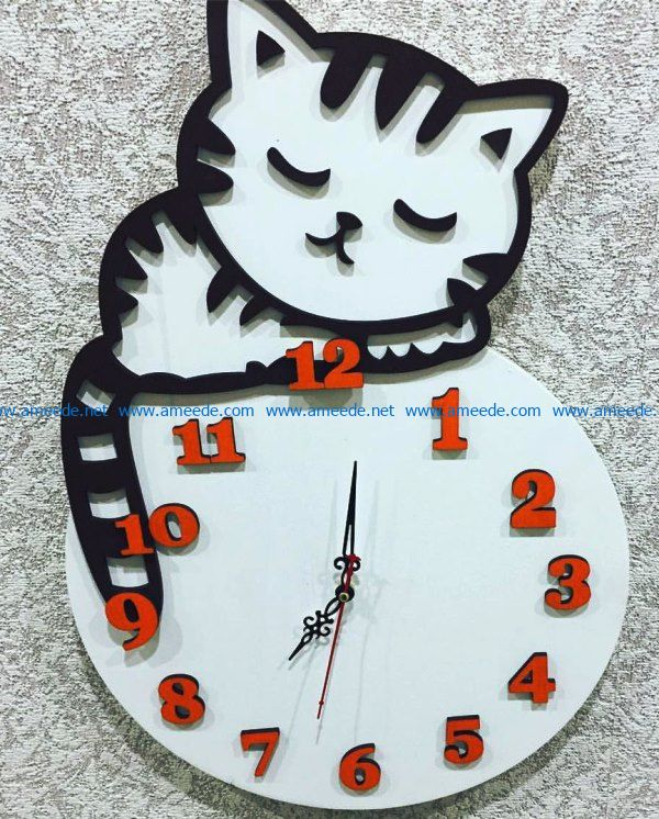 Cat wall clock sleeps file cdr and dxf free vector download for Laser cut