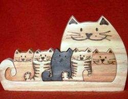 Cats family puzzle file cdr and dxf free vector download for Laser cut CNC