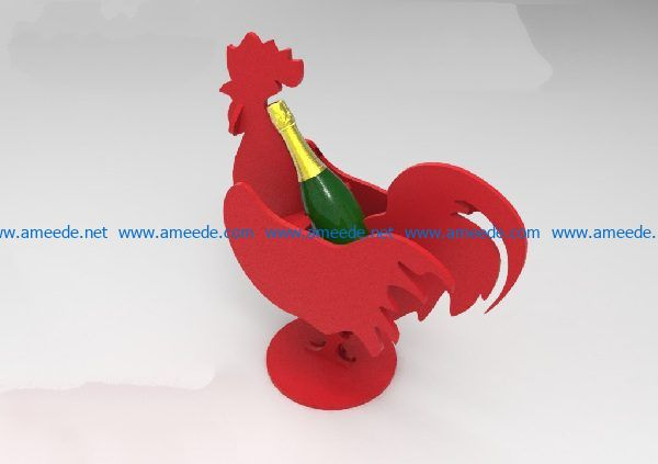 Chicken wine tray file cdr and dxf free vector download for Laser cut