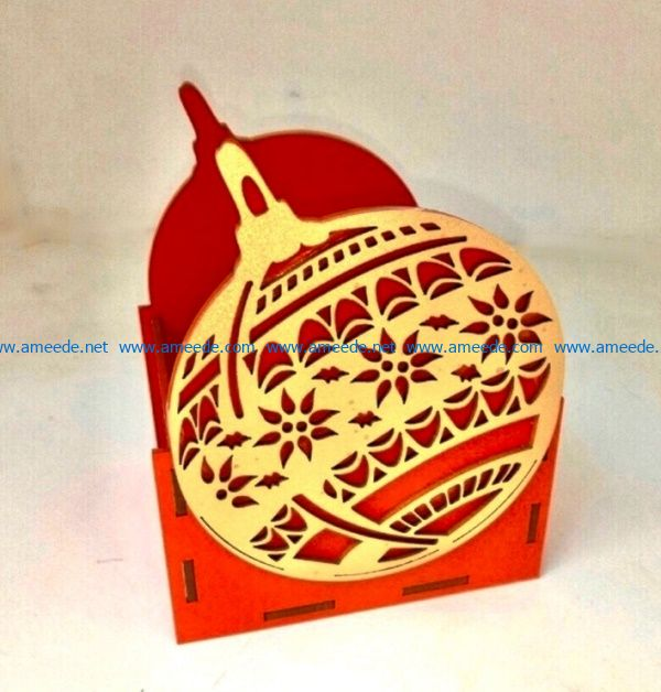 Christmas balls pencil holder file cdr and dxf free vector download for Laser cut