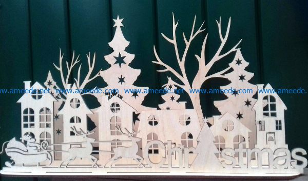 Christmas city file cdr and dxf free vector download for Laser cut