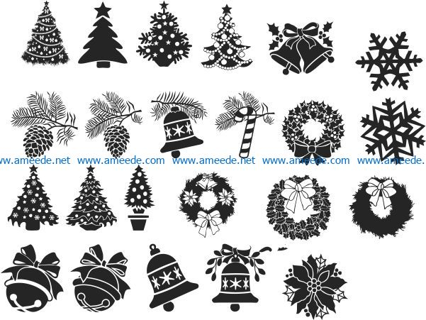 Christmas decorations file cdr and dxf free vector download for print or laser engraving machines
