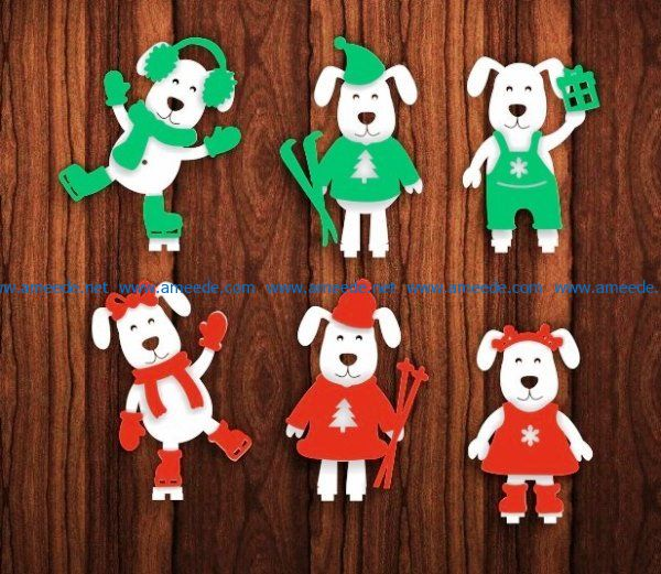 Christmas dog file cdr and dxf free vector download for Laser cut