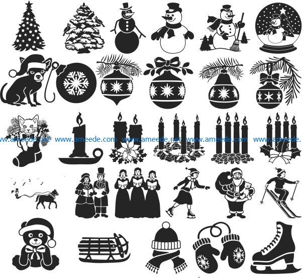Christmas file cdr and dxf free vector download for print or laser engraving machines