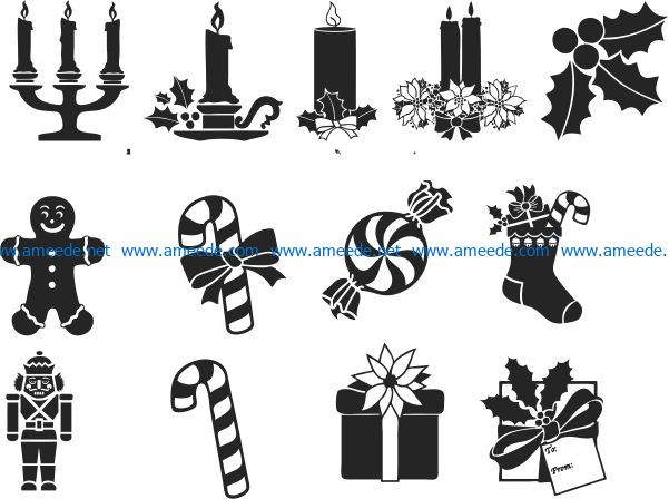Christmas symbol file cdr and dxf free vector download for print or laser engraving machines