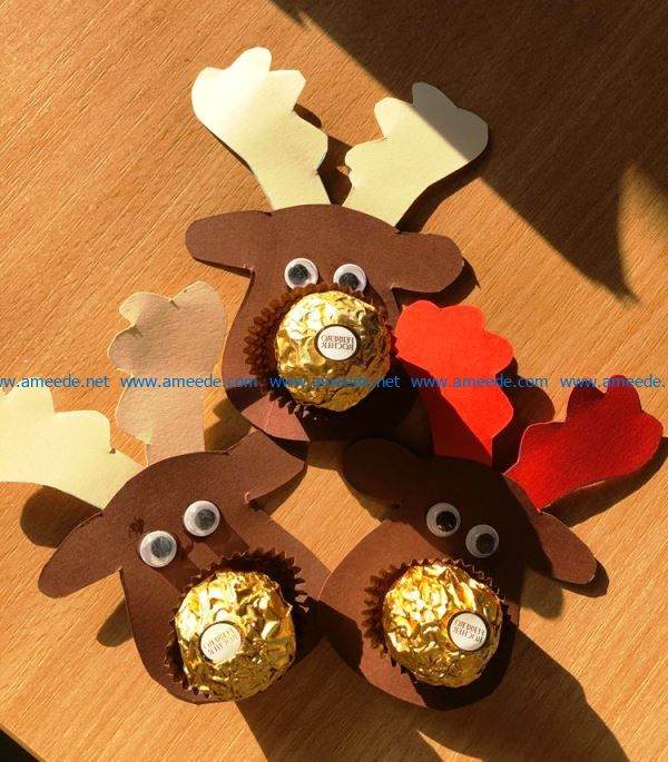 Christmas toy deer with candy file cdr and dxf free vector download for Laser cut