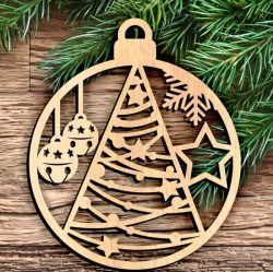 Christmas tree decoration circle file cdr and dxf free vector download for Laser cut
