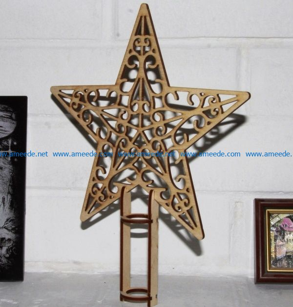 Christmas tree decoration star file cdr and dxf free vector download for Laser cut