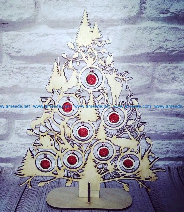Christmas tree with reindeer file cdr and dxf free vector download for Laser cut