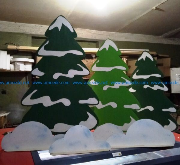 Christmas tree with snow file cdr and dxf free vector download for Laser cut
