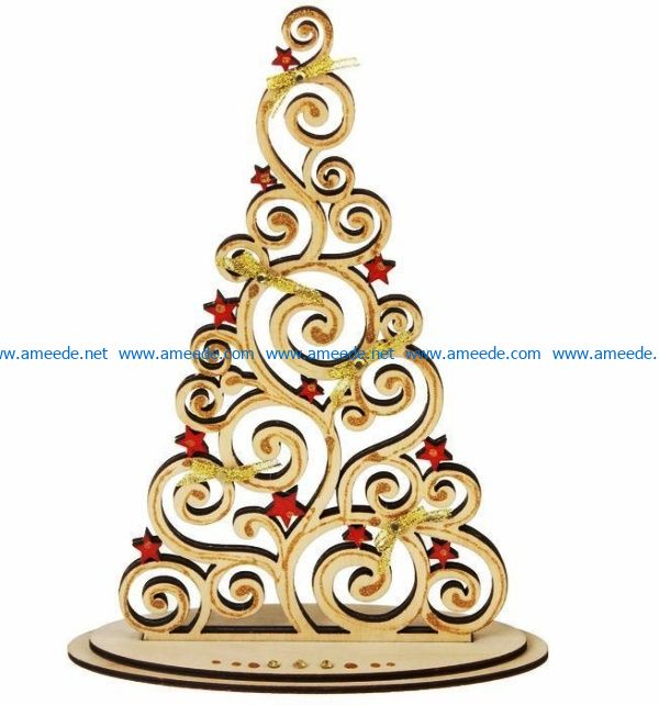 Christmas tree with star file cdr and dxf free vector download for Laser cut