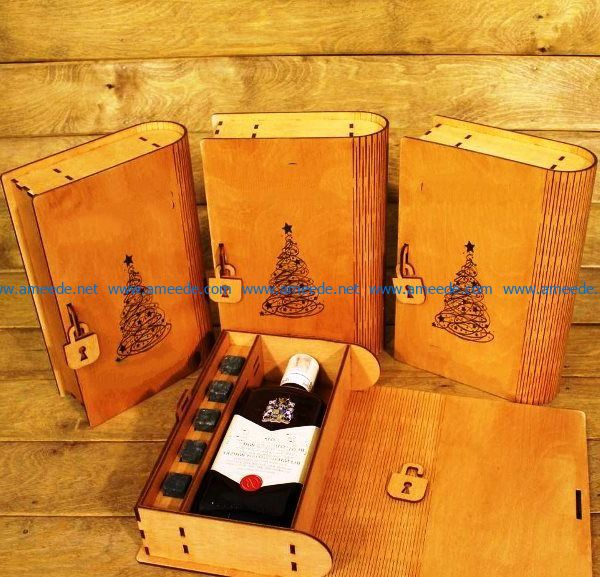 Christmas wine box file cdr and dxf free vector download for Laser cut