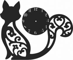 Clock with engraved cat  file cdr and dxf free vector download for Laser cut CNC
