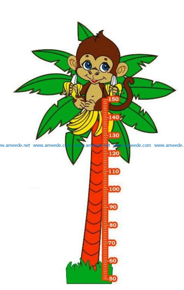 Coconut tree height ruler file cdr and dxf free vector download for Laser cut