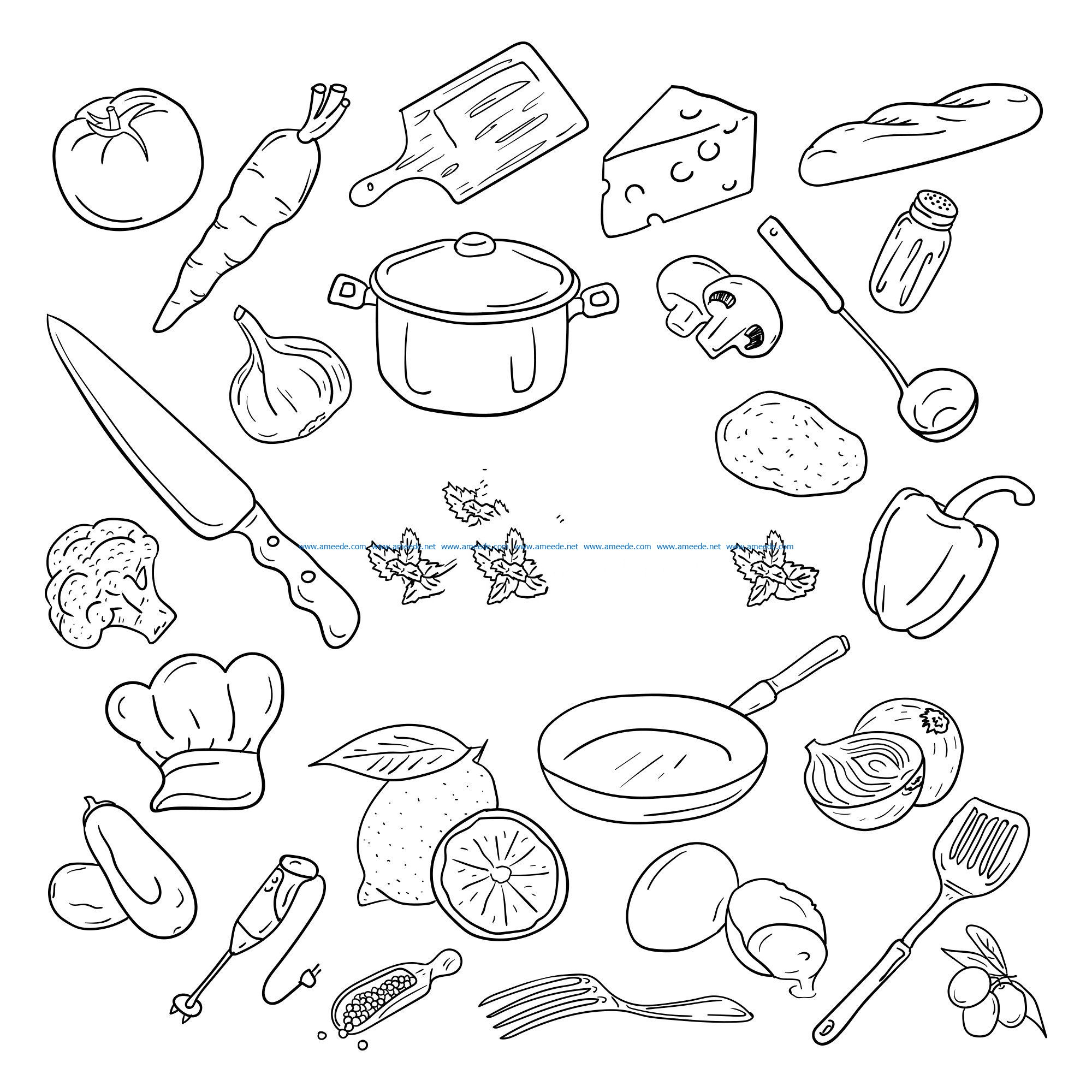 Cooking kits file cdr and dxf free vector download for print or laser engraving machines