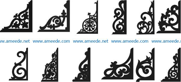Corner decoration file cdr and dxf free vector download for Laser cut CNC