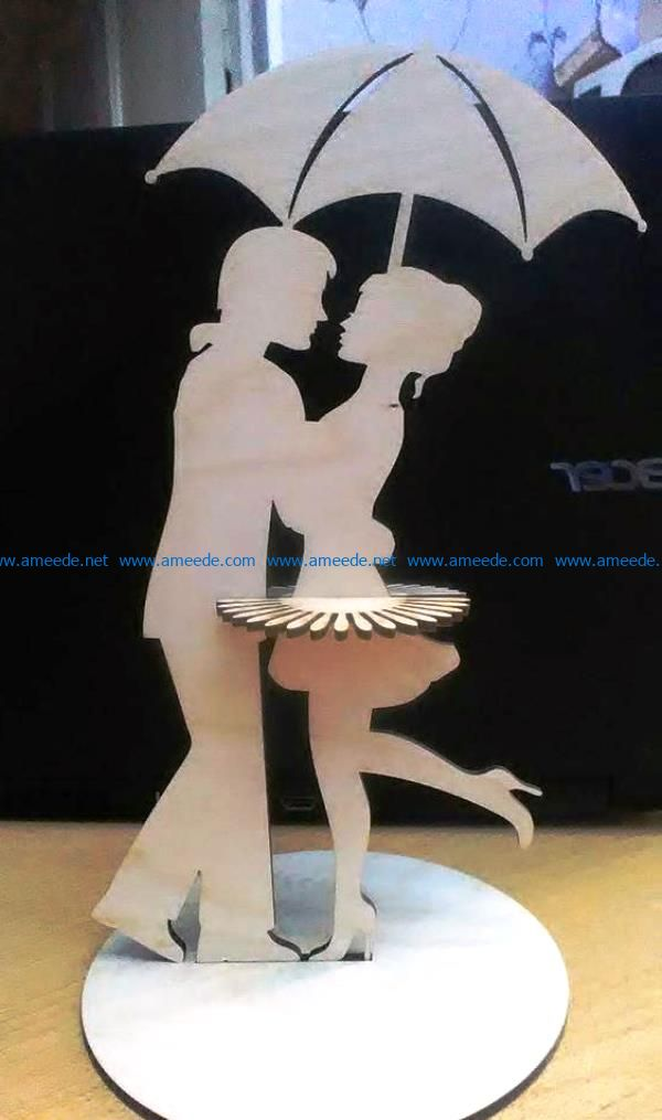 Couple covered the umbrella napkin holder file cdr and dxf free vector download for Laser cut
