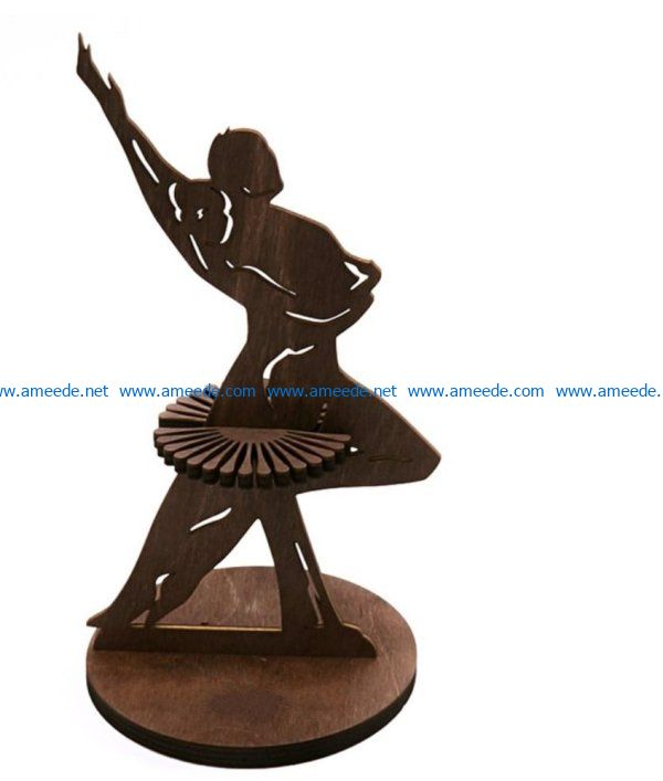 Couple dancing napkin holder file cdr and dxf free vector download for Laser cut