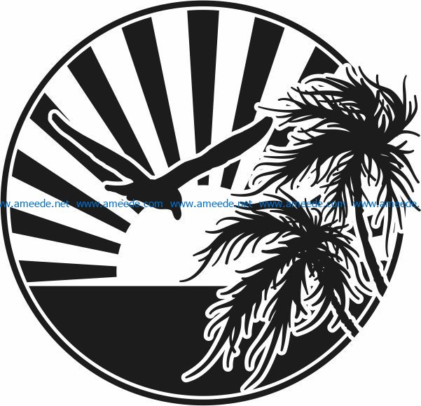Dawn on the sea file cdr and dxf free vector download for Laser cut Plasma