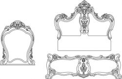 Decorative motifs of bed and mirror file cdr and dxf free vector download for Laser cut CNC