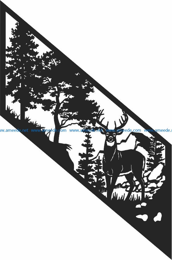 Deer and forest file cdr and dxf free vector download for Laser cut Plasma