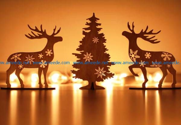Deer at the Christmas tree file cdr and dxf free vector download for Laser cut
