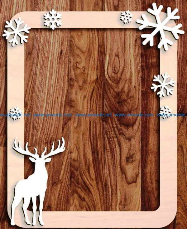 Deer photo frame file cdr and dxf free vector download for Laser cut
