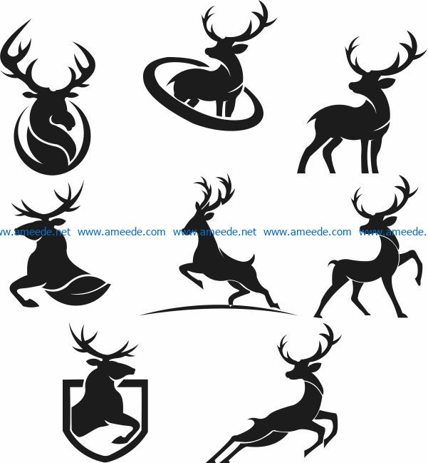 Deer silhouette file cdr and dxf free vector download for Laser cut Plasma file Decal