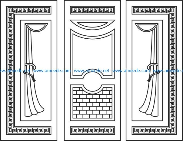 Door design with blinds file cdr and dxf free vector download for CNC cut