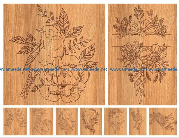 Draw animal flowers file cdr and dxf free vector download for print or laser engraving machines
