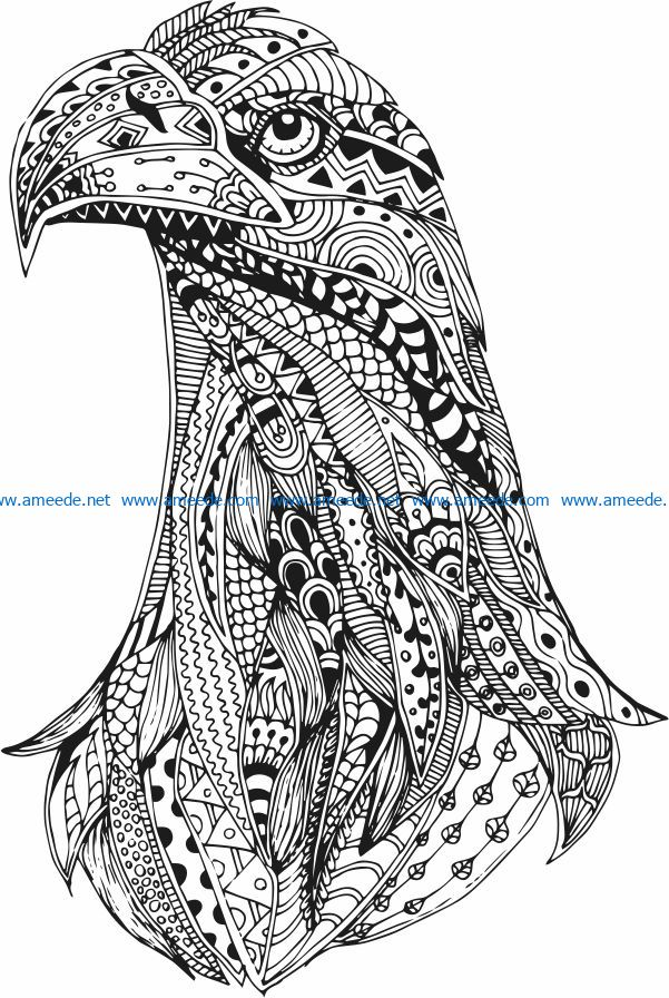 Eagle head file cdr and dxf free vector download for print or laser engraving machines