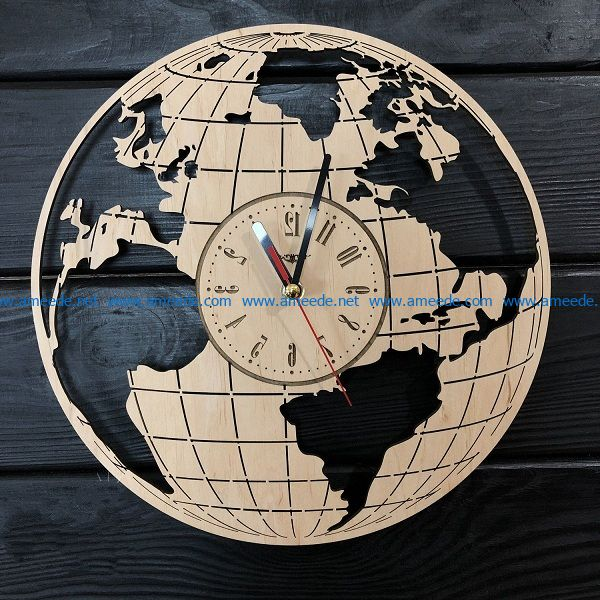 Earth-shaped clock file cdr and dxf free vector download for Laser cut