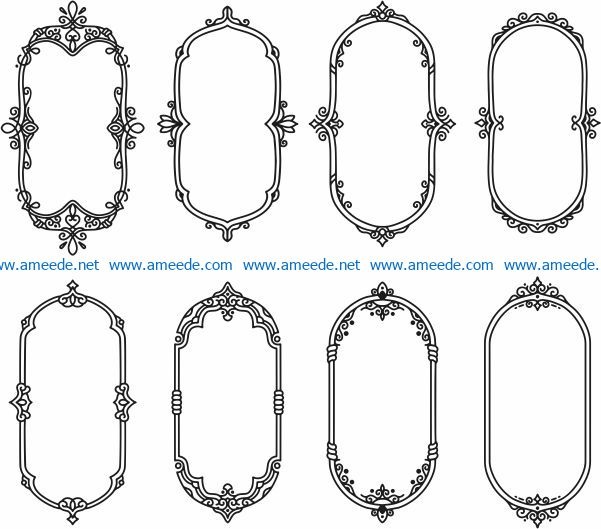 Ellipse decorative frame file cdr and dxf free vector download for Laser cut CNC