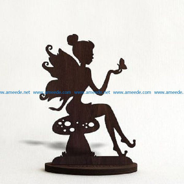 Fairies sit on mushrooms file cdr and dxf free vector download for Laser cut