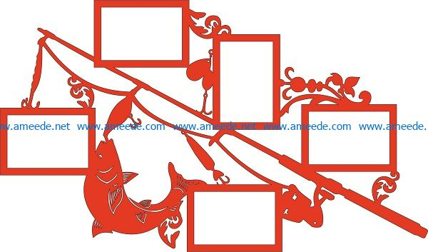 Fishing rod photo frames file cdr and dxf free vector download for print or laser engraving machines