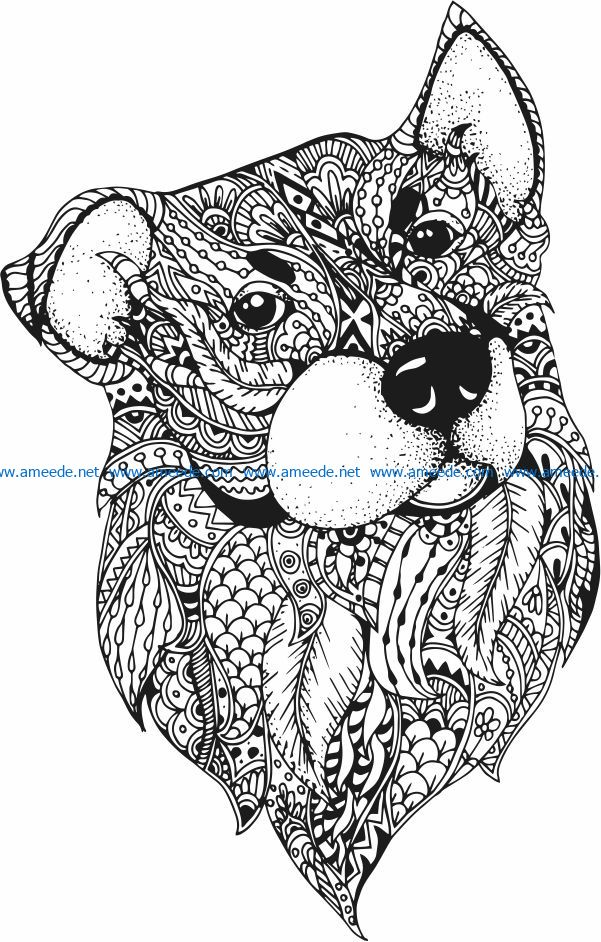 Floral dog file cdr and dxf free vector download for laser engraving machines
