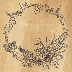 Floral round frame file cdr and dxf free vector download for print or laser engraving machines