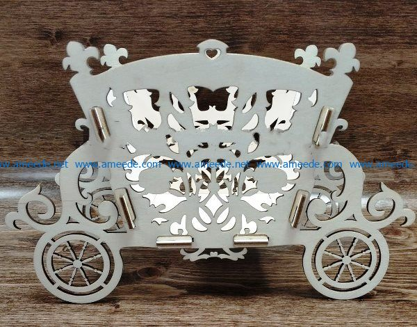 Flower Wagon file cdr and dxf free vector download for Laser cut