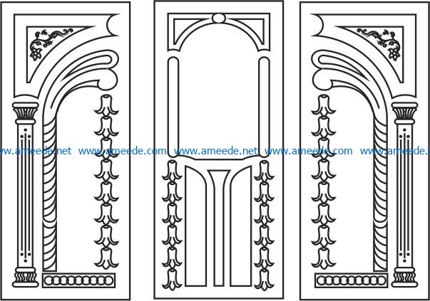 Flower door in succession file cdr and dxf free vector download for Laser cut CNC