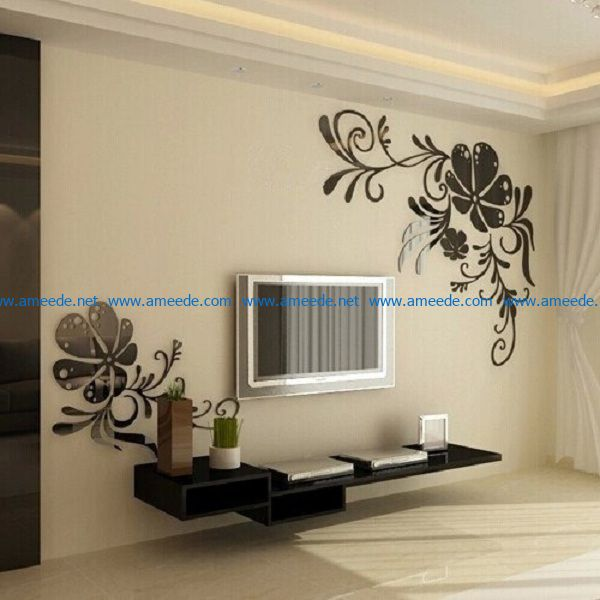 Flower leaves wall stickers file cdr and dxf free vector download for Laser cut