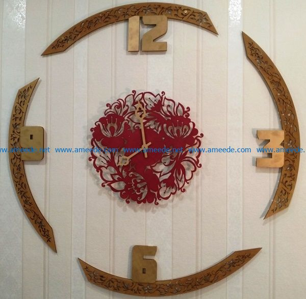 Flower wall clock file cdr and dxf free vector download for Laser cut