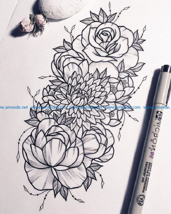 Flowers file cdr and dxf free vector download for print or laser engraving machines