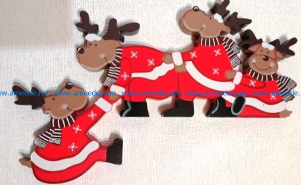 Four reindeer file cdr and dxf free vector download for Laser cut