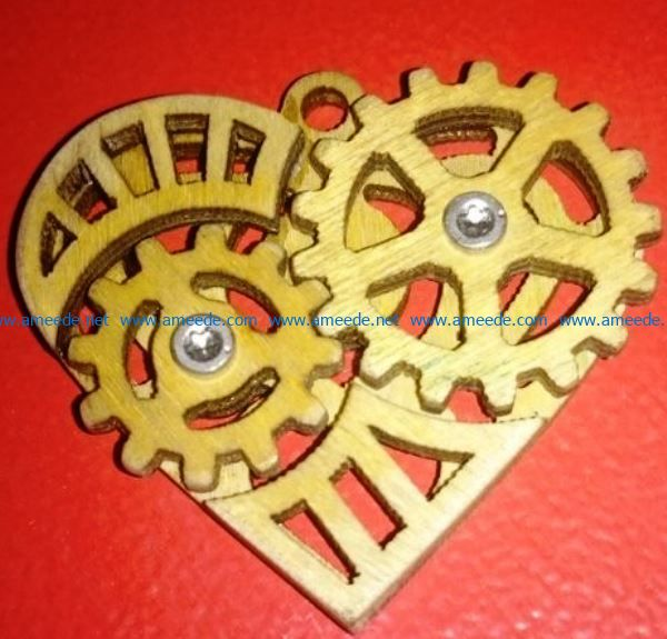 Gear heart file cdr and dxf free vector download for Laser cut
