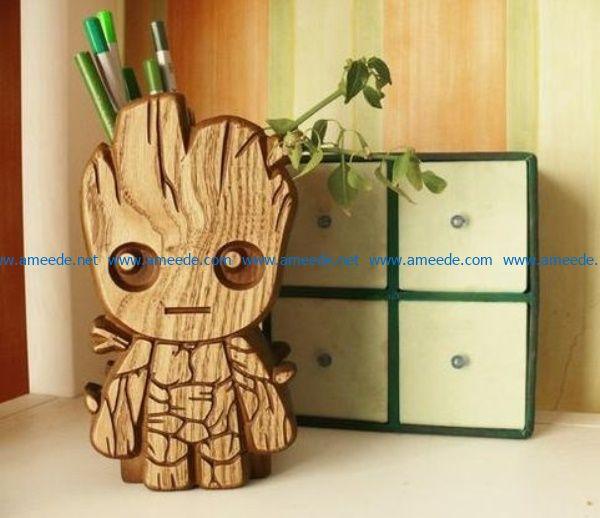 Groot pencil box file cdr and dxf free vector download for Laser cut