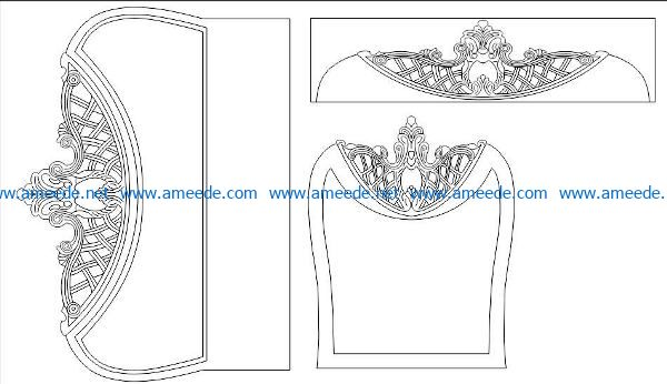Headboard and mirror file cdr and dxf free vector download for Laser cut CNC