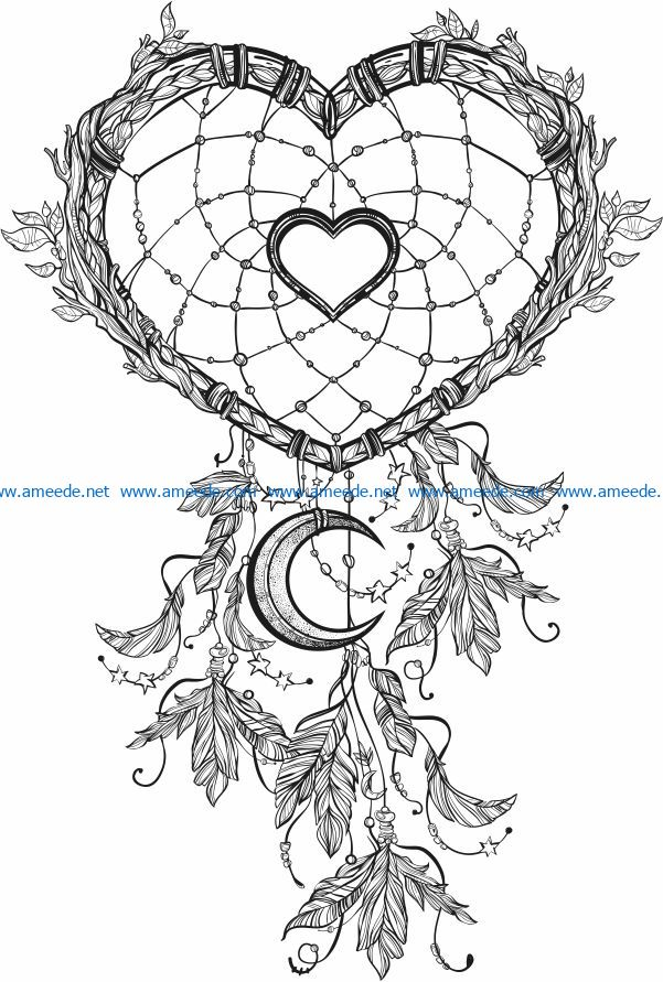 Heart With Moon file cdr and dxf free vector download for laser engraving machines