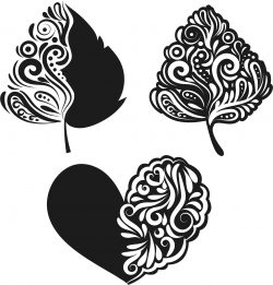 Heart and leaf file cdr and dxf free vector download for print or laser engraving machines