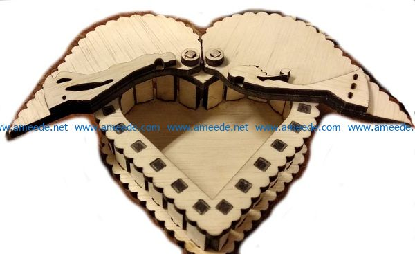 Heart box has two wings file cdr and dxf free vector download for Laser cut